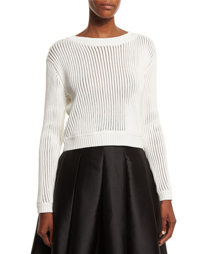 Long-Sleeve Ribbed Sweater, Ivory