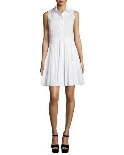 Sleeveless Pleated-Skirt Shirtdress, Optic White