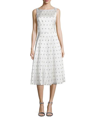 Sleeveless Embellished-Paisley Dance Dress, White