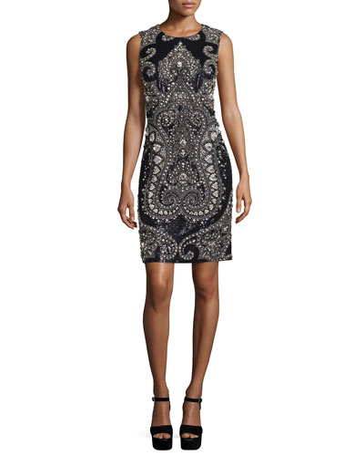 Sleeveless Embellished Sheath Dress, Black/Slate