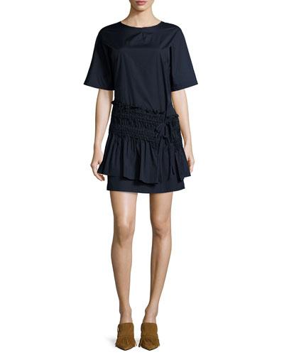 Smocked T-Shirt Dress, Obsidian
