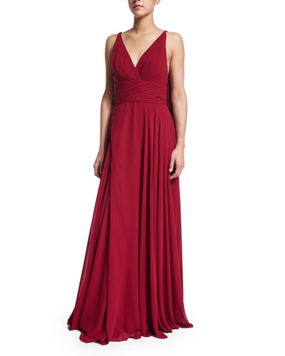 Sleeveless Draped-Back Pleated Gown