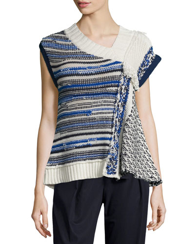 Draped Wool-Blend Top, Ivory/Blue