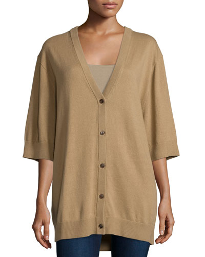 Short-Sleeve Button-Front Cardigan, Fawn