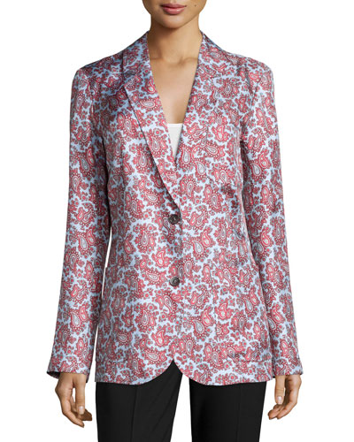 Paisley-Print Two-Button Jacket, Ice/Scarlet/Multi