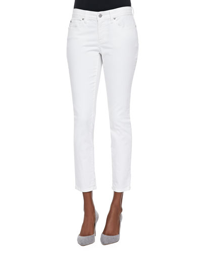 Organic Skinny Ankle Jeans, White, Plus Size