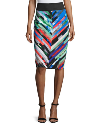 Mirage Striped Midi Skirt