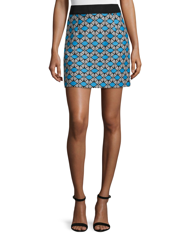 Geometric-Print Mini Skirt, Sky