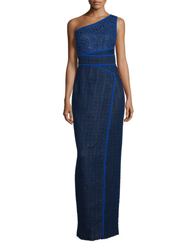 One-Shoulder Column Multi-Lace Gown, Imperial Blue/Noir