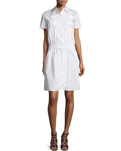 Short-Sleeve Poplin Shirtdress, Optic White