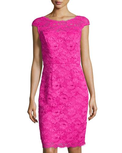Cap-Sleeve Lace Sheath Dress, Deep Fuchsia