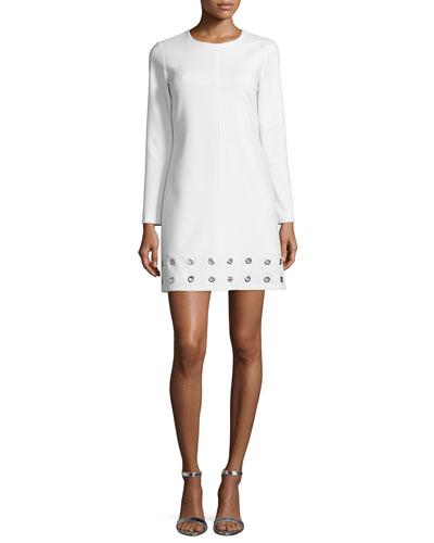 Long-Sleeve Grommet-Hem Dress, Snow