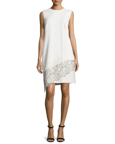 Sleeveless Lace-Inset Shift Dress, Ivoire