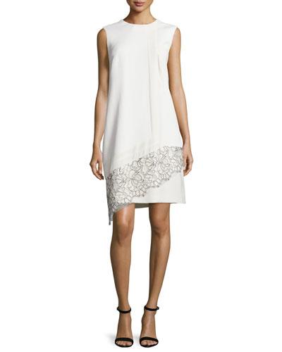 Sleeveless Lace-Inset Shift Dress, Ivoire