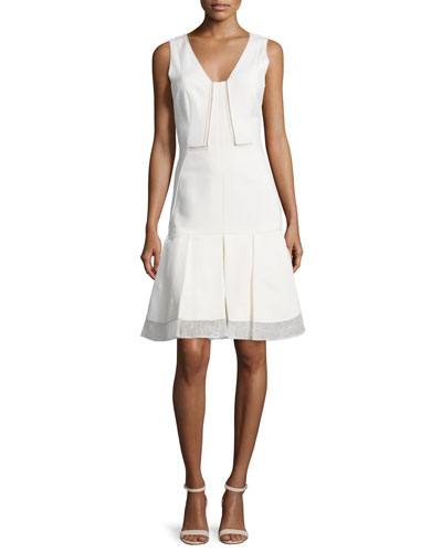Sleeveless V-Neck Pleated-Hem Dress, Ecru