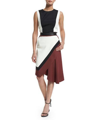 Sleeveless Colorblock Dress, Maroon/Multi