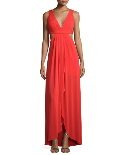 Sleeveless V-Neck Gown W/Cutouts, Bright Red