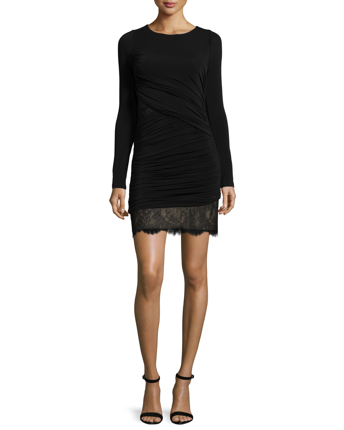 Long-Sleeve Ruched Cocktail Dress, Black