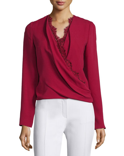 Long-Sleeve Lace-Trim Blouse, Ruby