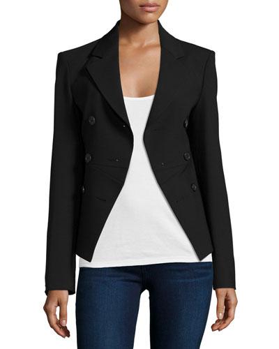 Cutaway-Front Riding Jacket, Black