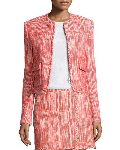Cropped Tweed Zip-Front Jacket, Poppy