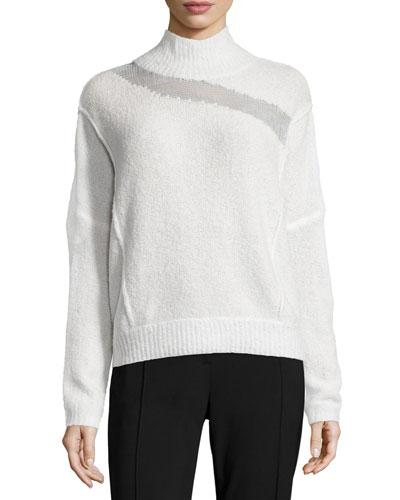 Della Mock-Neck Boucle Sweater