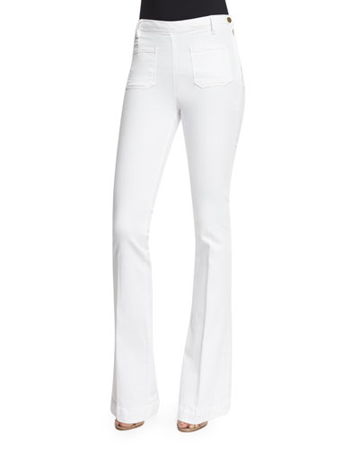 Le High Patch-Pocket Flare-Leg Jeans, Blanc