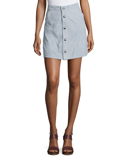 Leandra Button-Front Pieced Suede Skirt, Celestial Blue