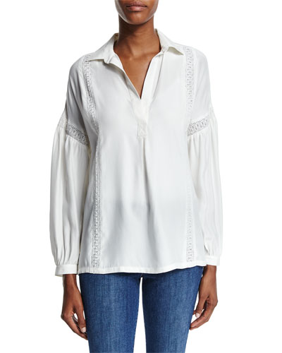 Lace-Trim Long-Sleeve Top, Off White