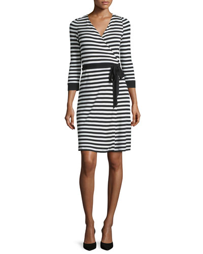 3/4-Sleeve Striped Wrap Dress