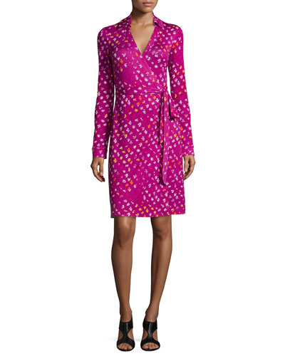 Long-Sleeve Polka-Dot Wrap Dress, Daisy Buds