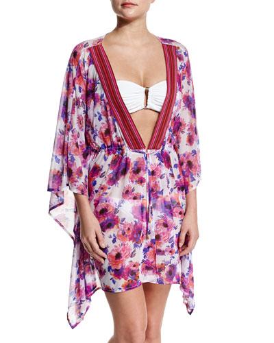 Floral-Print Deep-V Coverup Dress