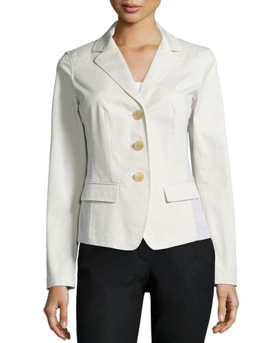 Three-Button Combo Jacket, Raffia
