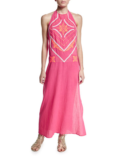 Embroidered-Front Halter Maxi Dress