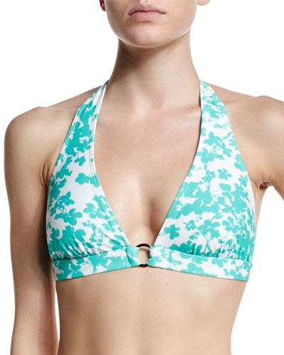 Floral-Print Center-Ring Halter Swim Top