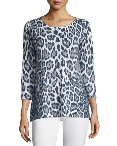 3/4-Sleeve Leopard-Print Cashmere Tunic