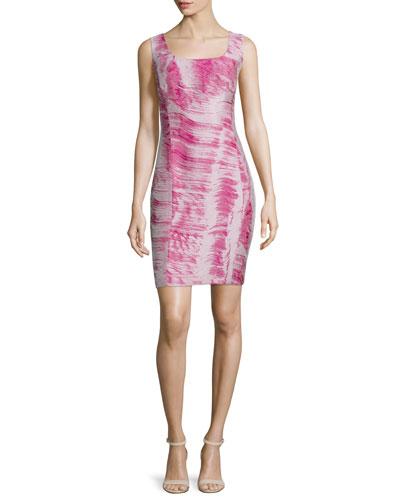 Carol Sleeveless Sheath Dress, Fuchsia/Multi