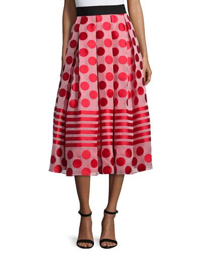 Polka Dot & Striped Midi Ball Skirt, Flame