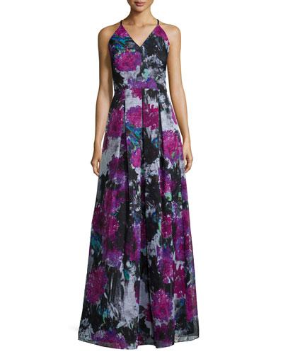 V-Neck Crisscross-Back Floral Gown