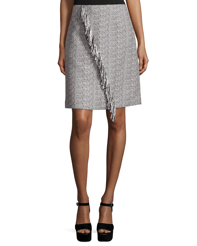 Emerson Herringbone Skirt W/ Fringe