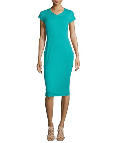 Cap-Sleeve V-Neck Sheath Dress, Aquarium