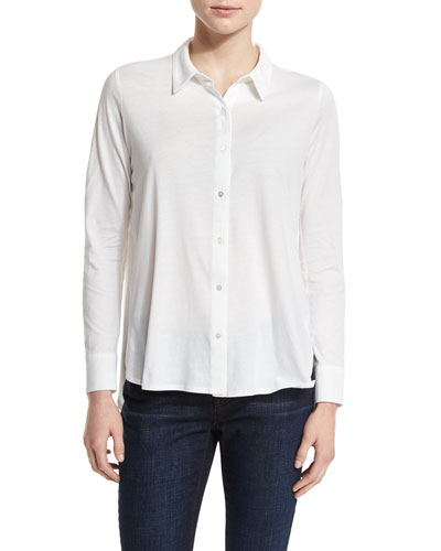 High-Low Button-Front Shirt, White