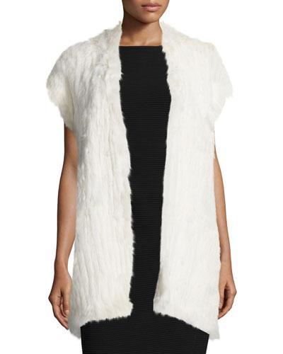 Cap-Sleeve Fur Vest, Antique Cream