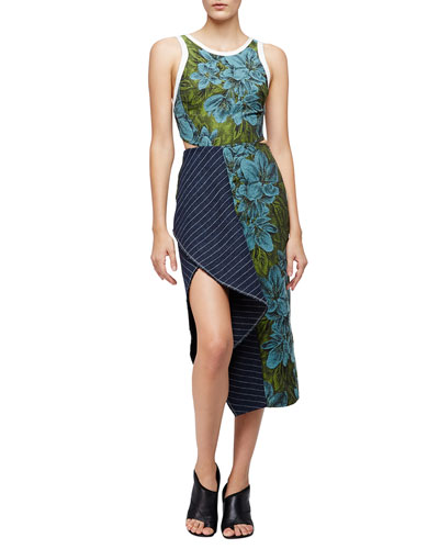 Sleeveless Floral Dress w/ Striped Trim, Leaf/Hydro