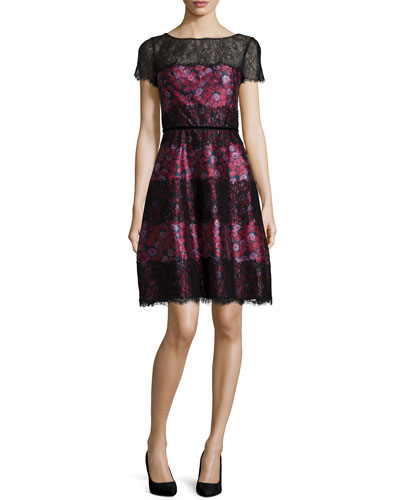 Short-Sleeve Floral-Print Dress, Multi