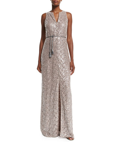 Sleeveless Sequined Lace Column Gown