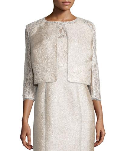 3/4-Sleeve Lace Tweed Cropped Jacket