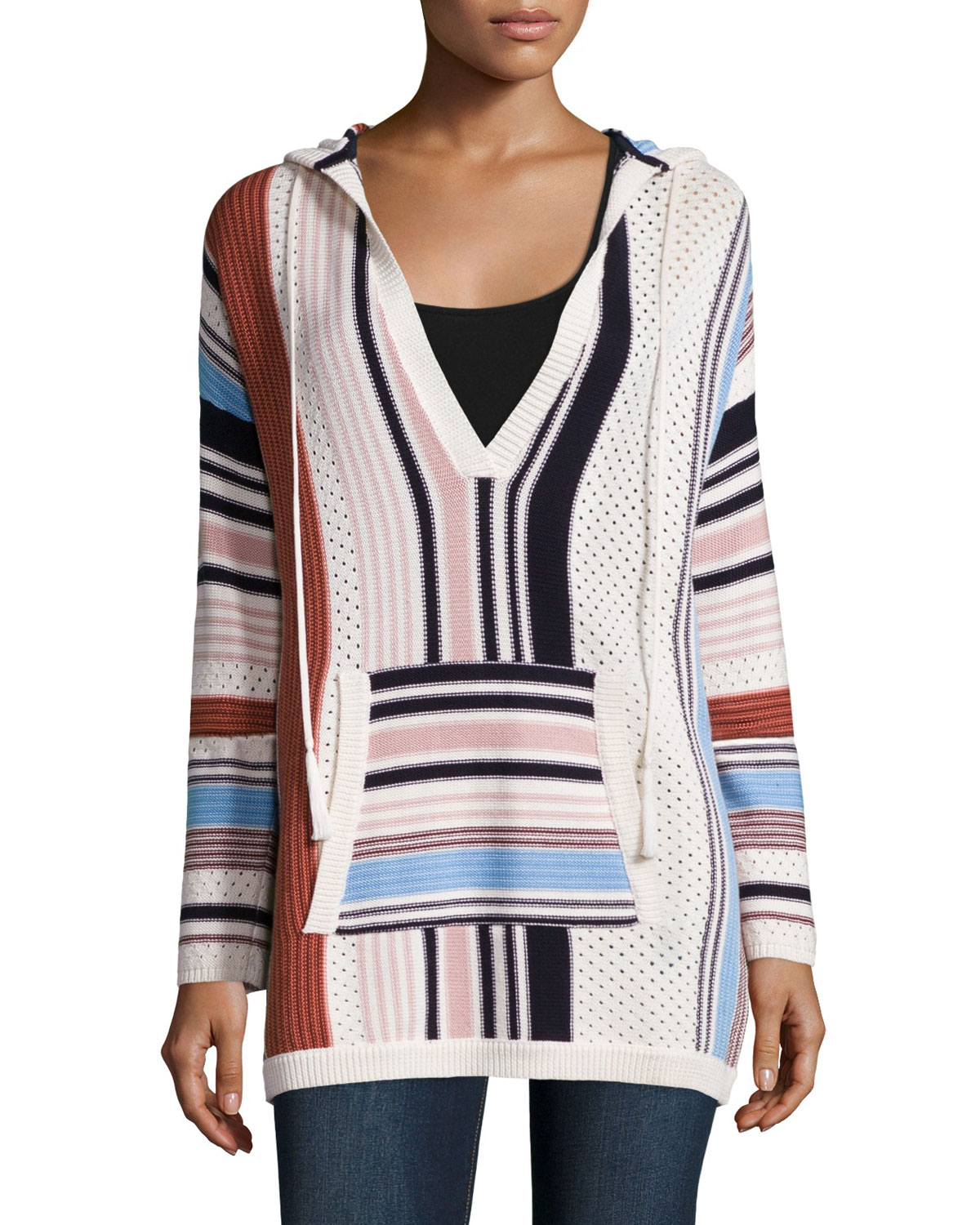 Baja Mixed-Print Hooded Sweater, New Ivory