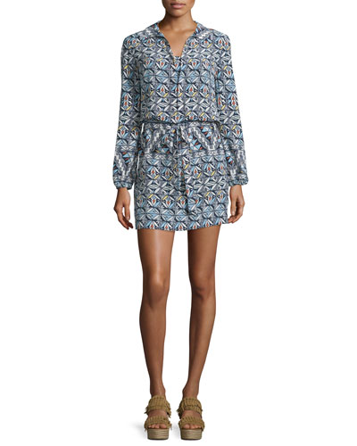 Long-Sleeve Printed Shirtdress, Riviera Blue Acoma