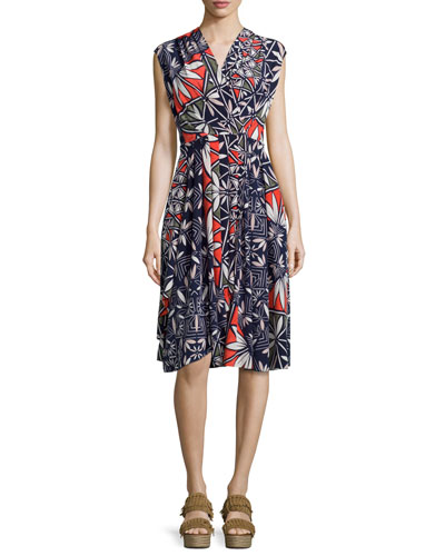 Pottery Sleeveless Cocktail Dress, Tory Navy